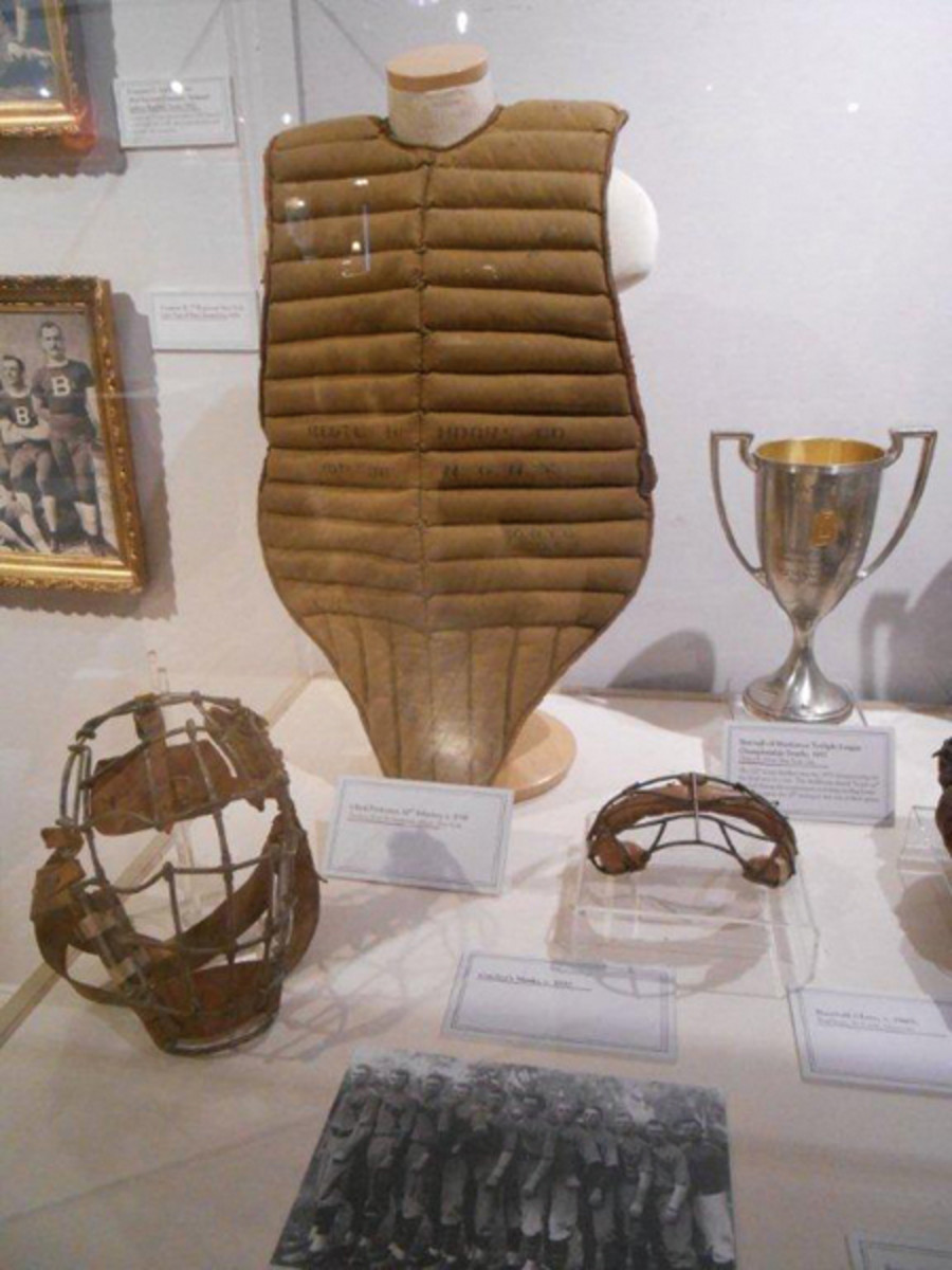 Some of the early sports equipment on display at the New York State Military Museum in Saratoga Springs, N.Y.
