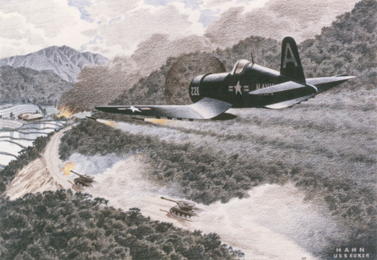 Corsair Drawing, Colored Pencil on Paper; by Herbert C. Hahn; C. 1951