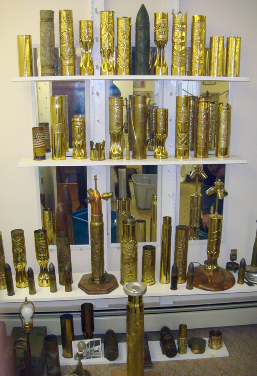 Collection of World War I era trench art, realized over $3,000 in approximately 38 lots.
