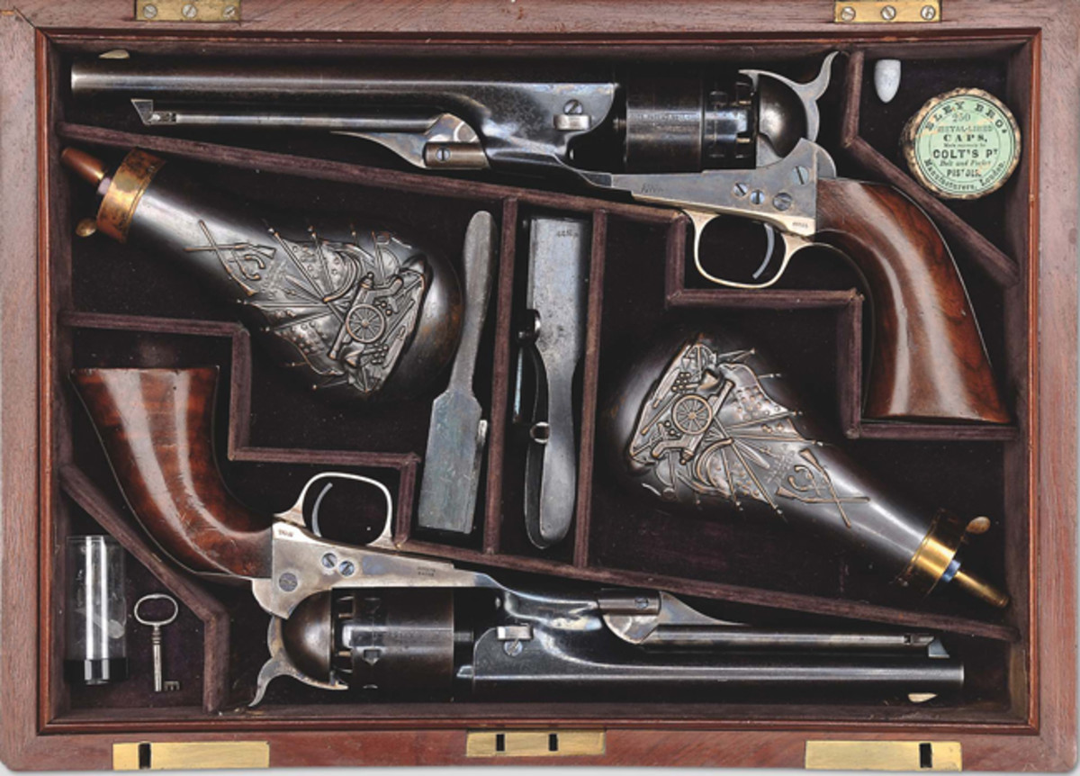 The extremely rare, presentation double cased set of Colt 1860 Army and 1861 Navy Percussion revolvers were presented to Colonel William A. Thornton by Col. Colt. Colonel Thornton, later a Brig. General, was the U.S. Army Inspector and Colt, of course, wished to influence him with a gift of these very special guns.