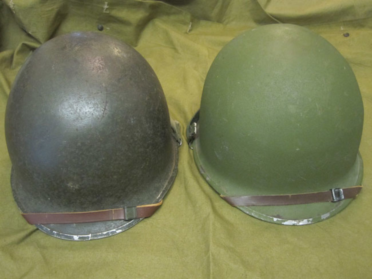 This is an example of two WWII manufactured front seamed helmets. On the left is an original unaltered helmet with dark paint and coarse cork aggregate and sewn chin straps. On the right, a front seamed helmet refurbished to 1950s specifications with lighter paint and fine sand aggregate and metal clamped chin straps.