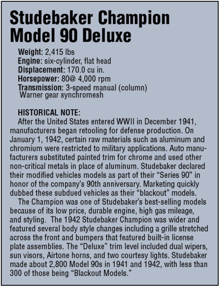 Chart of specs for Studebaker Champion Model 90 Deluxe