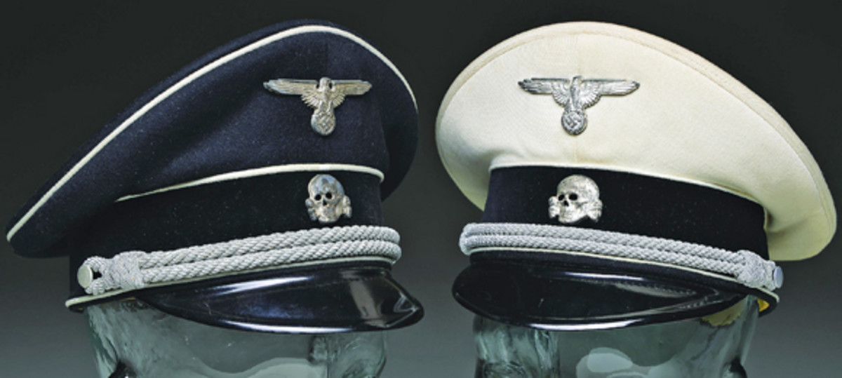 One of the rarest of Nazi visor hats is the spectacular set of named and researched Allgemeine SS officer visor caps. The black version is rare, but the white version is extraordinarily rare. The two hats belonged to the same Nazi officer and are being sold as a lot; it is estimated at $50-70,000.