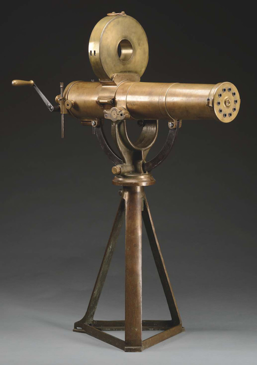 A rare and outstanding example of a Colt Model 1883 US Navy Gatling Gun with original bronze tripod in very fine overall condition.