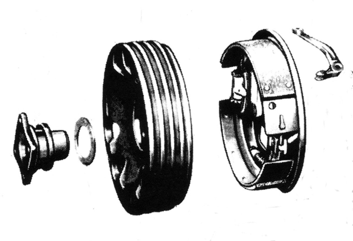 Typical internal expanding shoe type parking bake used on most military jeeps, such as the MB, GPW, M38 and M38A1. It's common for the pivot bolt as well as the bell crank arm to be badly worn.