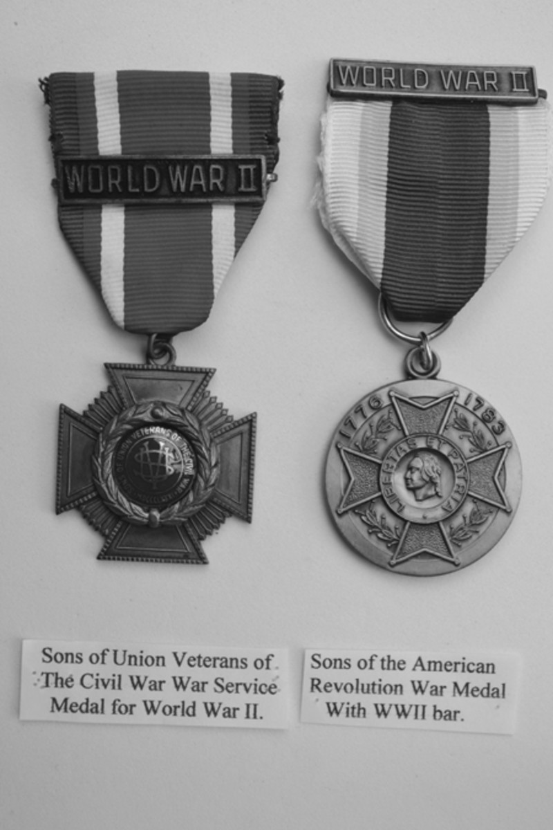 Veteran Organization medals for WWII service: Sons of Union. Veterans of the Civil War 0858 - Sons of Union Veterans of the Civil War and Sons of the American Revolution.