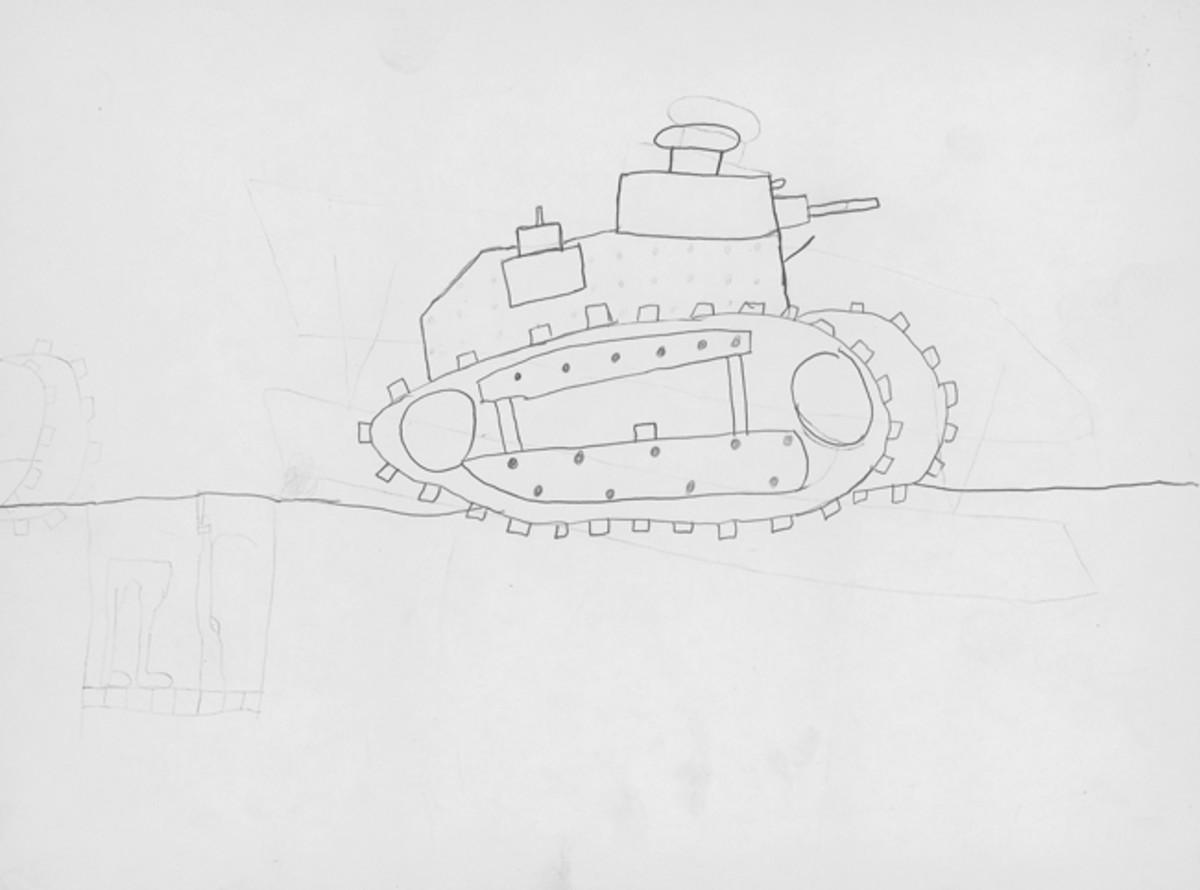 """""""WWI Tank,"""" by Trevor Worzalla, Sixth Grade"""