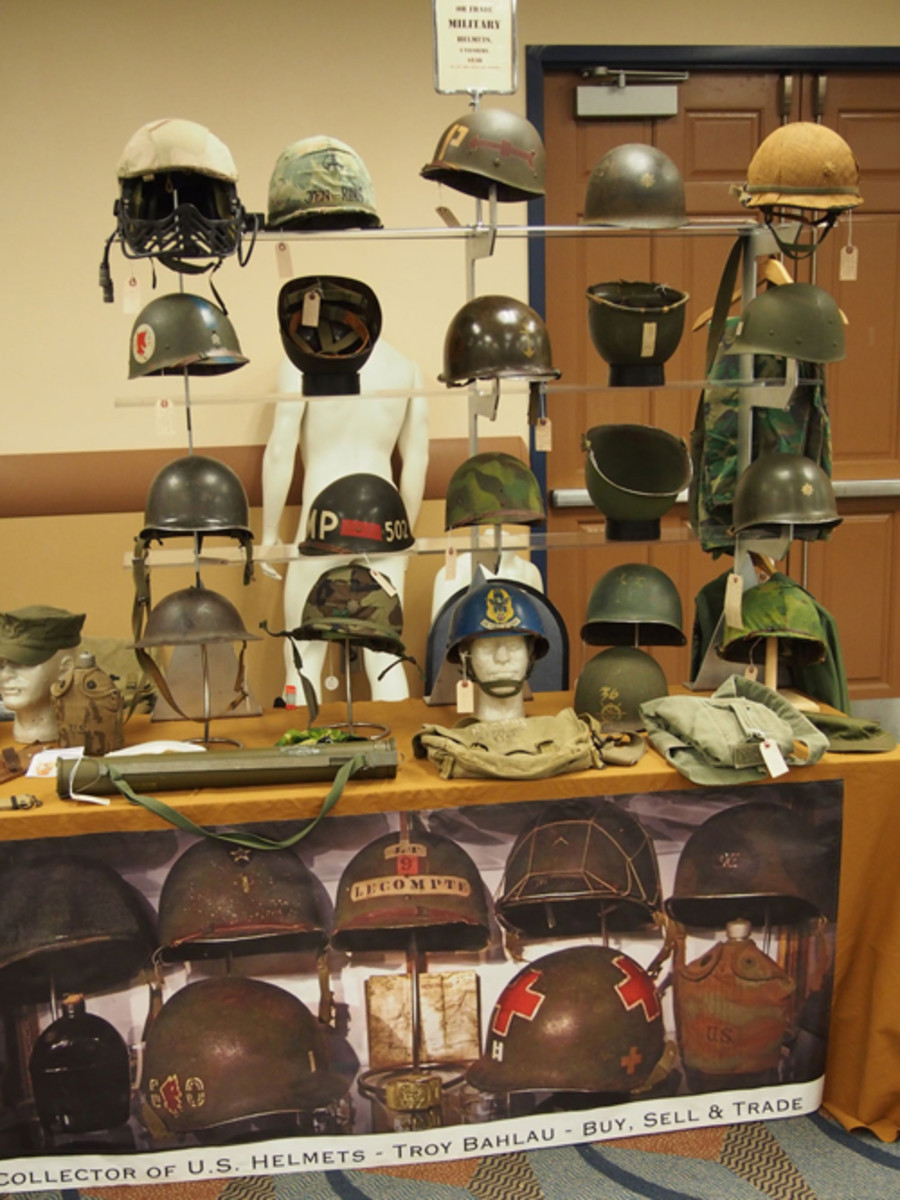 "An assortment of U.S. helmets from Troy Bahlau were in the ""action room"" at the MAX."