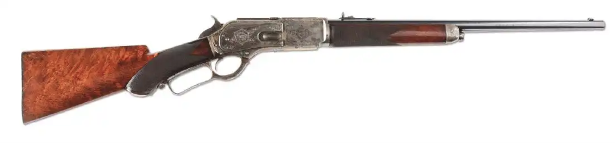 Factory-documented special order Winchester .50 caliber Express short rifle made for the British Commonwealth trade, with 1860 and 1866 patents. Exact rifle shown on Pg 243 of The Winchester Book by George Madis.