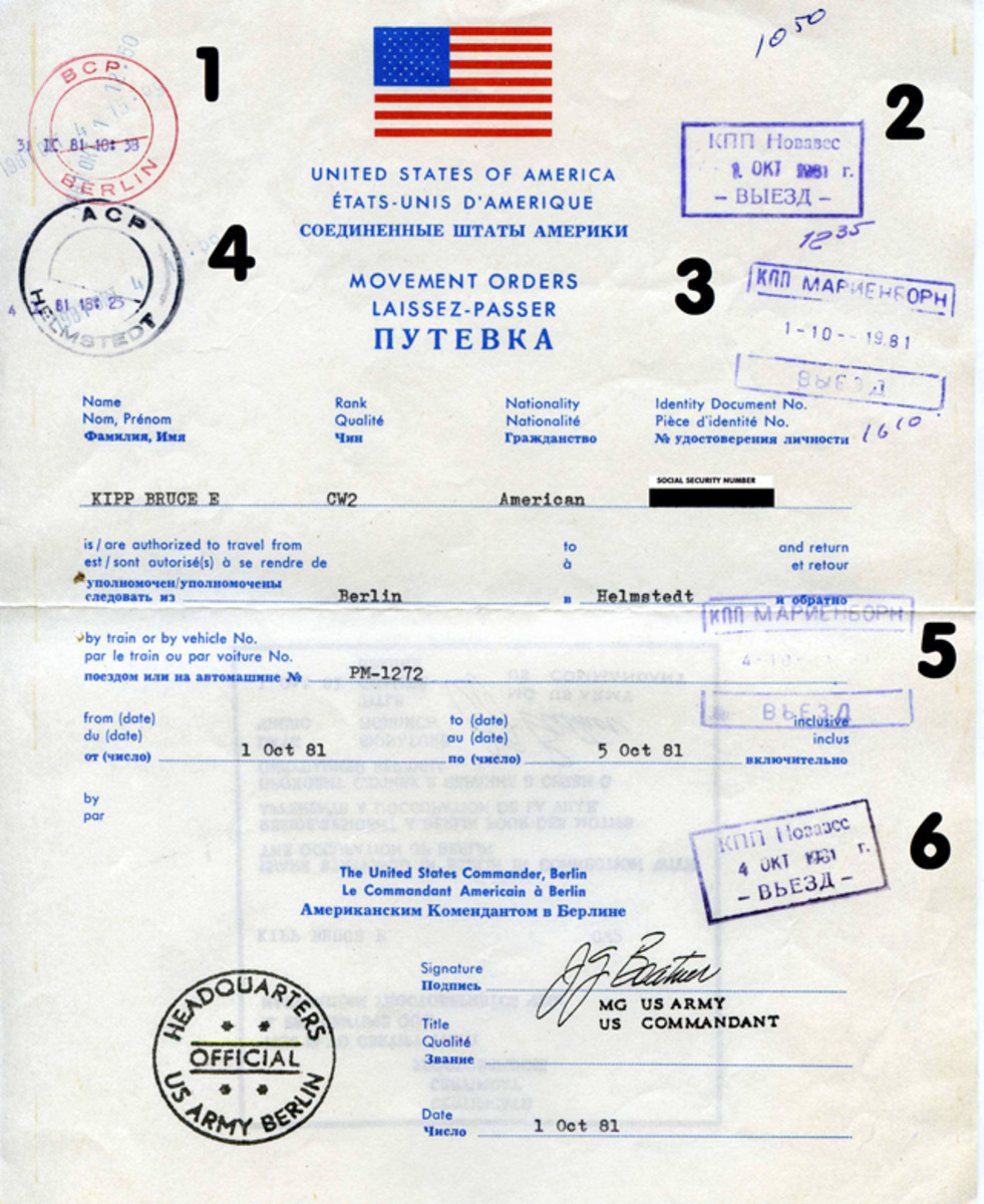Obverse of Flag Orders for a round trip on the Berlin-Helmstedt Autobahn. Stamps for the outbound trip (West Berlin - Helmstedt) include: Allied Checkpoint Bravo; Soviet Checkpoint Nowawes; Soviet Checkpoint Marienborn; and Allied Checkpoint Alpha.