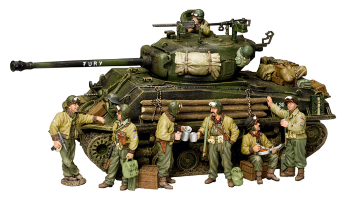 """The """"FURY"""" M4A3E8 Easy-Eight Sherman Tank has clearly seen hard use and is festooned with gear, captured German equipment used as trophies."""
