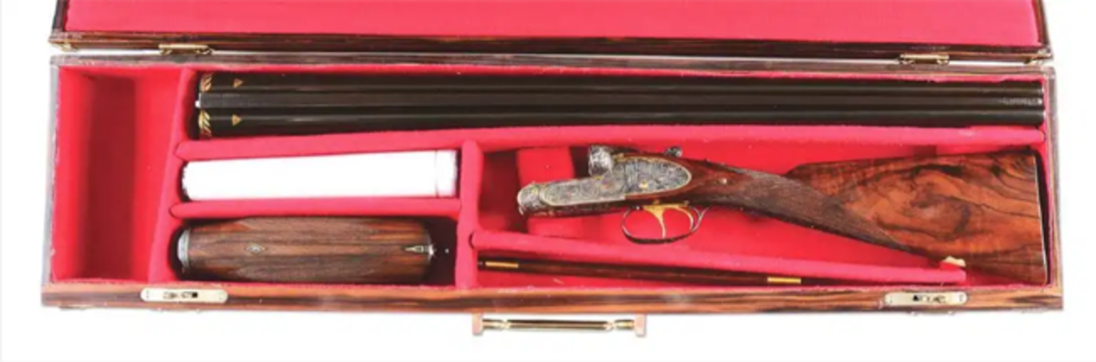 Russian M11 Model, 12-bore shotgun presented to Nikita Khrushchev in 1959, Purdey-type action, inscribed to mark the commencement in 1959 of the 21st session of the Communist Party in the Soviet Union.
