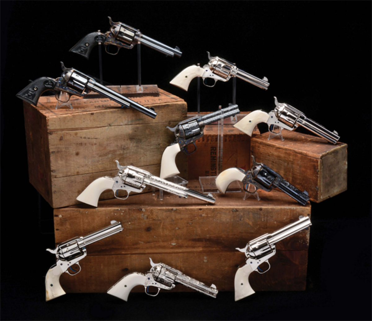Lot of 10 consecutively serial-numbered (timeframe 1988-1995), unfired Colt custom gun shop single-action army revolvers in custom display case. Only known collection of its type.