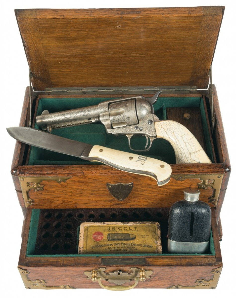 "LOT2229-First Generation Colt Single Action Army Revolver with Case, Knife and Hip Flask, All Inscribed to Timothy ""Longhair Jim"" Courtright, Old West Gunfighter"