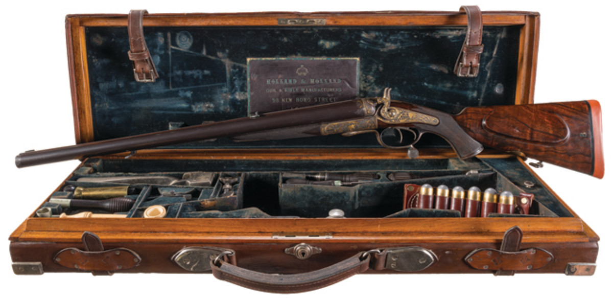 Cased Factory Engraved and Extensively Gold Inlaid Holland & Holland 12 Bore Double Hammer Rifle Made for on Special Order for the Nizam of Hyderabad