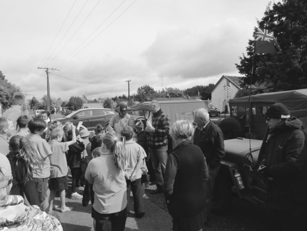 You will find that towns along a convoy route love to see you. Here, Kiwi school children love convoys too. The Armistice 100 Convoy stopped a several schools to help educate the next generation on the importance of the past with hands-on participation.