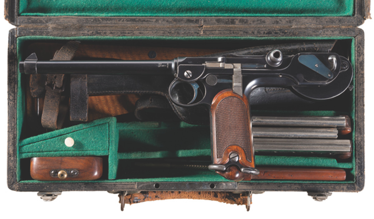 Documented Early DWM Model 1893 Borchardt Cased Pistol Rig Complete with Four Matching Magazines, Original Shoulder Stock, Leather Holster, Cheekpiece and Original Black Leather Covered Storage Case