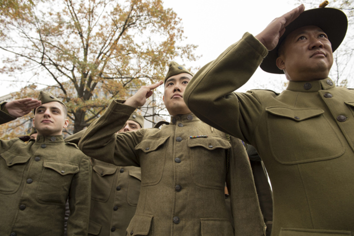World War I re-enactors salute during the National World War I Memorial groundbreaking ceremony at Pershing Park in Washington, D.C. Nov. 9, 2017. Construction of the memorial is expected to be completed in a year. (DoD photo by EJ Hersom)