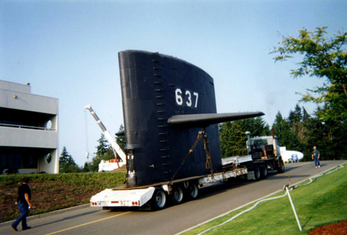 KEYPORT, Wash. -- The sail from Cold War submarine USS Sturgeon (SSN 637) arrived at the U.S. Naval Undersea Museum in August 1995 for permanent display, after the submarine was recycled through the Puget Sound Naval Shipyard's submarine recycling program. USS Sturgeon was the lead ship in a class of 37 fast attack submarines that conducted missions during the Cold War. U.S. Navy photo. (Released)