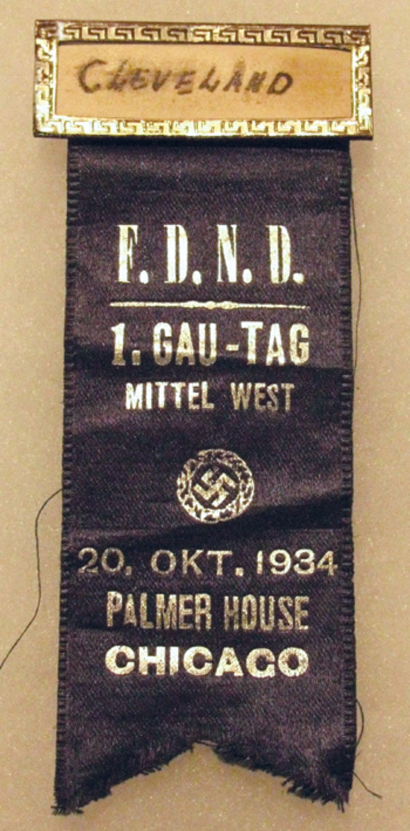 A Cleveland,Ohio, delegate wore this badge to the Die Freunde des Neuen Deutschland (FDND)Gau-Tag meeting held at the Palmer House in Chicago on October 20, 1934.
