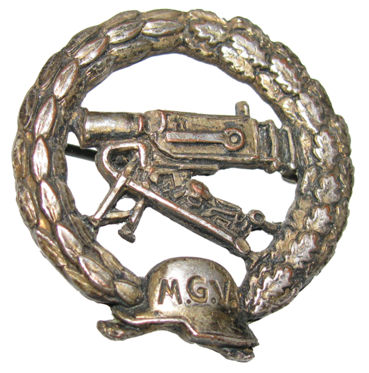 Machine gunners were very proud of their military status. After the war, they formed small veterans' groups, such as the Maschinengewehr Verein (MGV). This is an MGV membership badge.