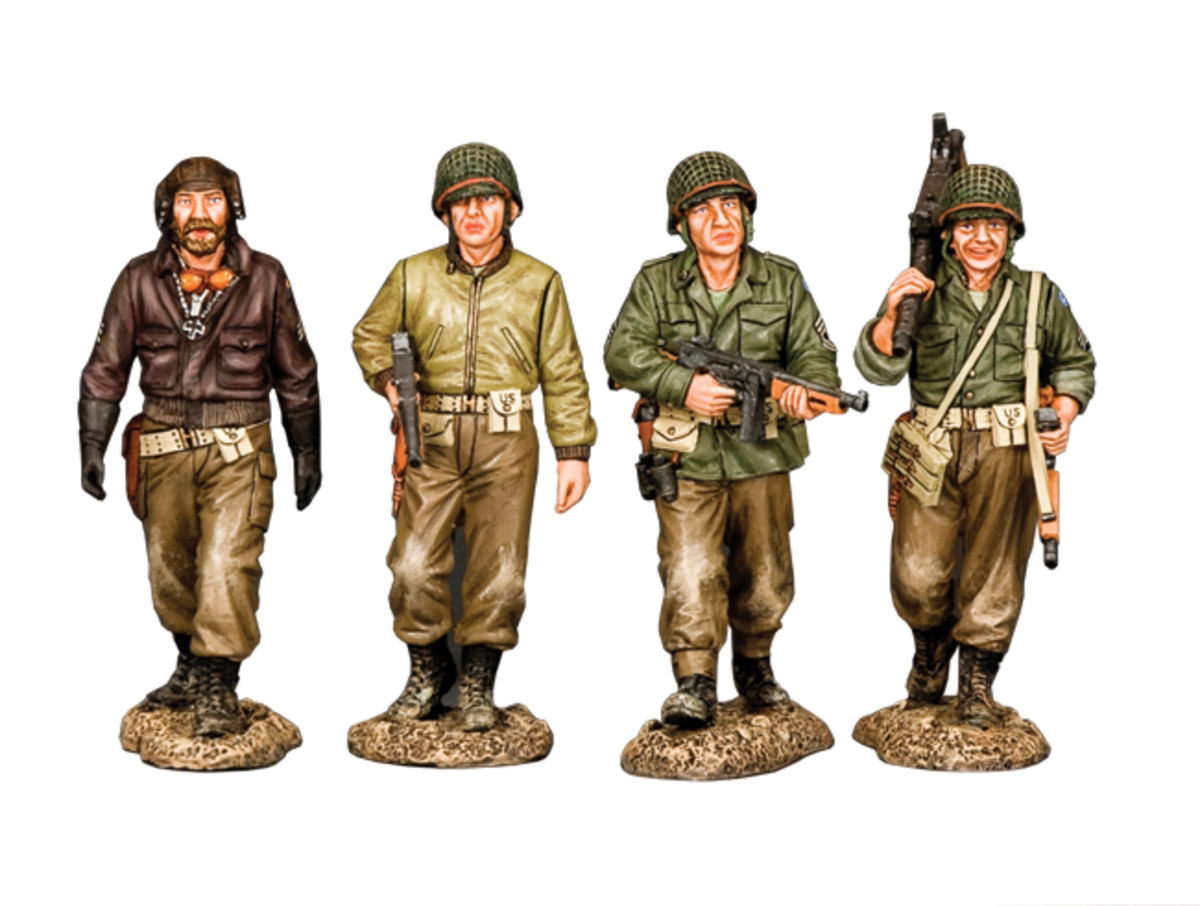 """""""Gang of Heroes"""" a four figure set representing a group of WWII soldiers on the hunt for a bank full of gold bullion."""
