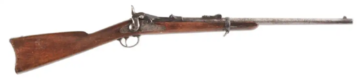 Springfield Trumpeteer Model 1783, .45-.55 caliber trapdoor carbine, forensically confirmed as a match to one of only 10 cartridges found on the Custer Battlefield (1876 Battle of Little Big Horn), soldier identified as John Martin of Company H.