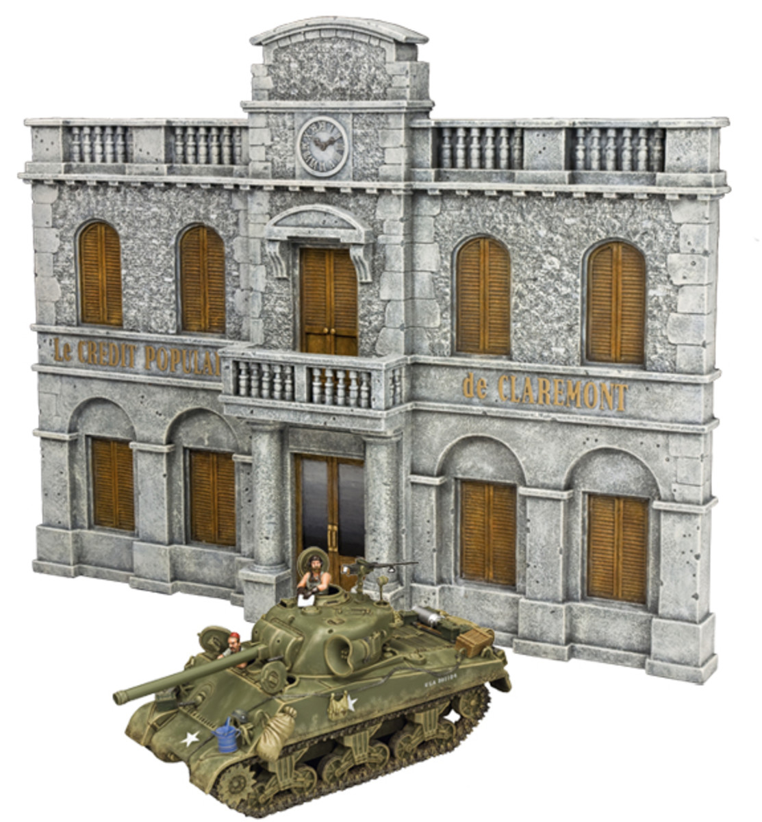 """The Heroes needed a bank to rob, so King & Country introduced the """"Bank of Heroes."""" The façade measures an impressive L 14.5"""" x D 0.8"""" x H 12"""", perfectly in scale with the tanks and figures. """"Oddball's Tank"""" sits in front."""