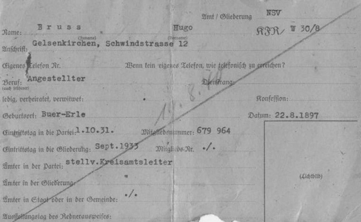 Gelsenkirchen Nazi Party District Administration Propaganda Office File Card for the District Spokesman's ID Card issued to Hugo Bruss (Obverse)