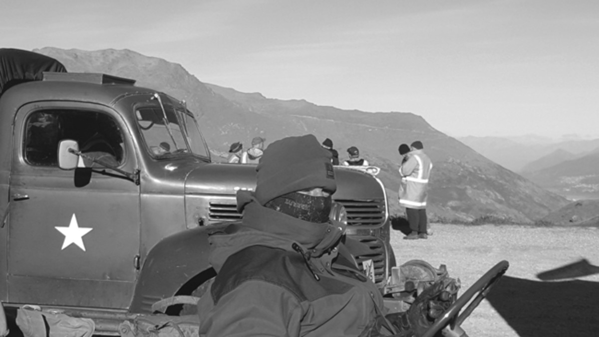 Because many convoy events last several days — or even weeks — who have to be prepared for a variety of weather conditions like Bob Moore in his open GPW on the spectacular Hasst Pass (John Subritzky's Dodge VC-4 behind it). Photo courtesy of John Subritzky