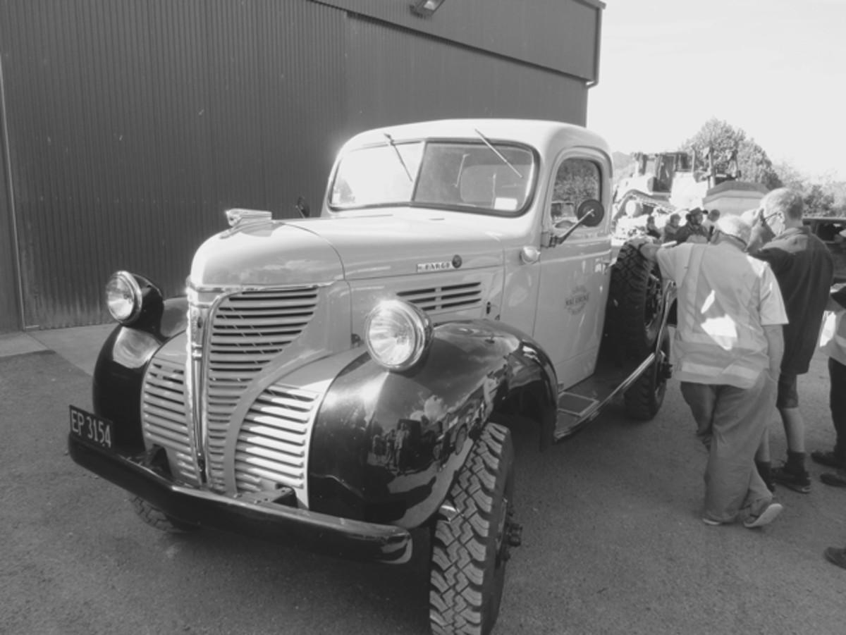 Convoy veteran Mike Edridge's 1940 Fargo with one of his heavy Cat dozers in the background.