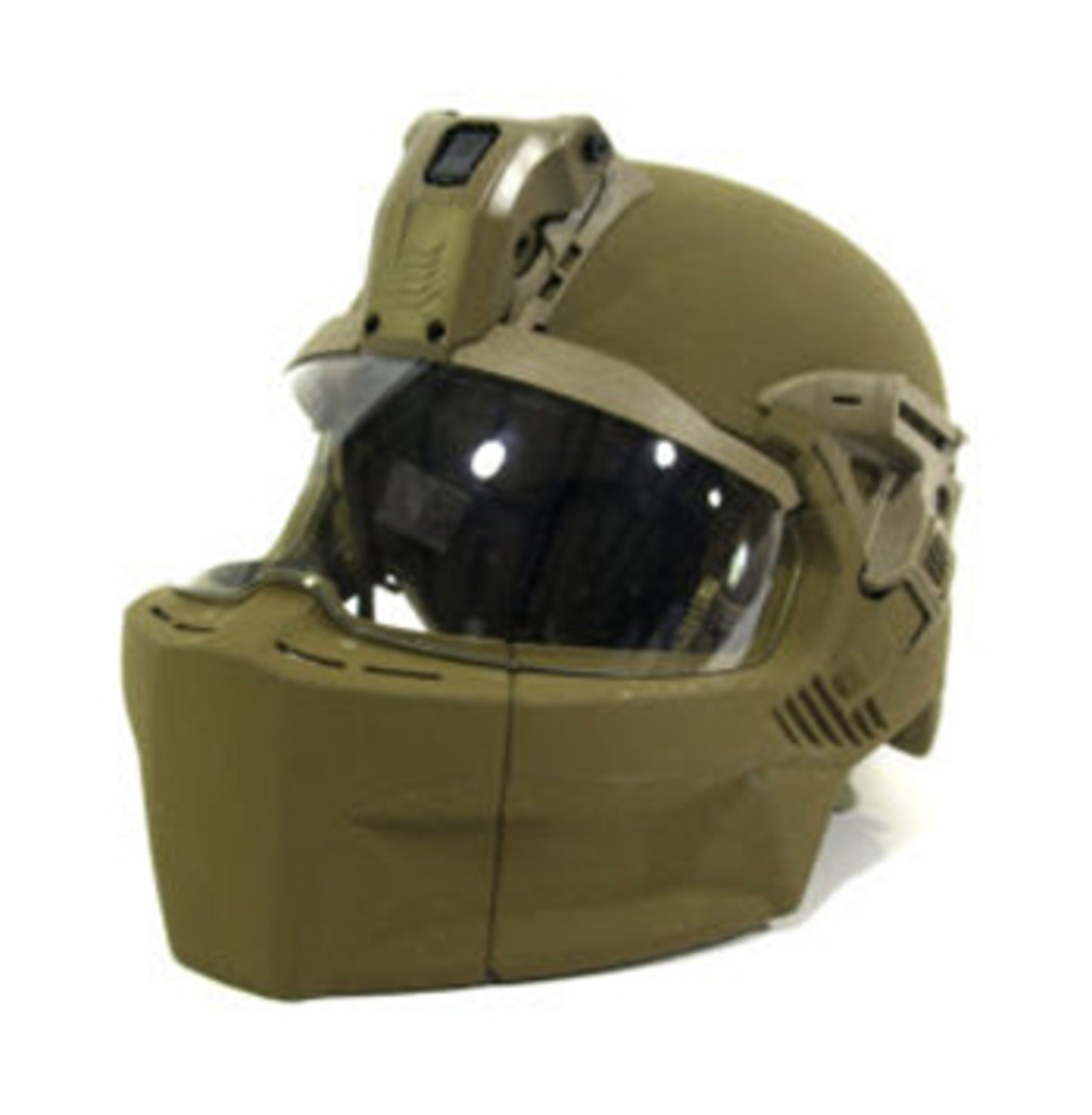"The new Integrated Head Protection System (IHPS) is configured with mandible and visor without ballistic applique for ""Rough Terrain"" static line parachute jump operations. (Photo by Rebecka Waller, Audio Visual Production Specialist, Airborne and Special Operations Test Directorate, U.S. Army Operational Test Command)"