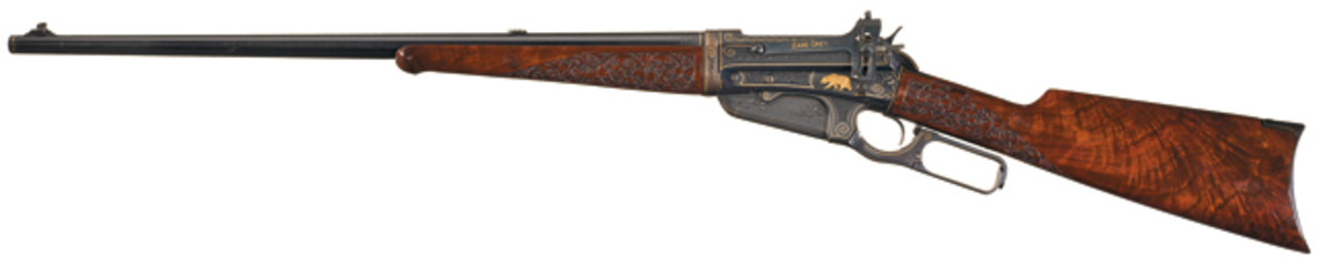 John Ulrich Signed Masterpiece: Factory No. 1 Engraved, Gold Inlaid and Carved Winchester Deluxe Model 1895 Takedown Lever Action Rifle Inscribed to Famed Western Author Zane Grey