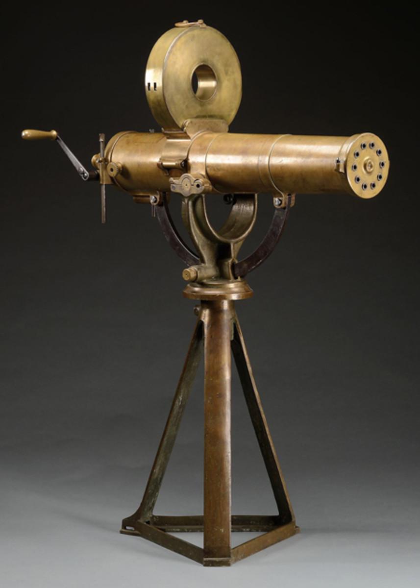 Colt 1883 U.S. Navy Gatling Gun on original bronze base. Presale estimate $175,000-250,000. It brought $174,800.