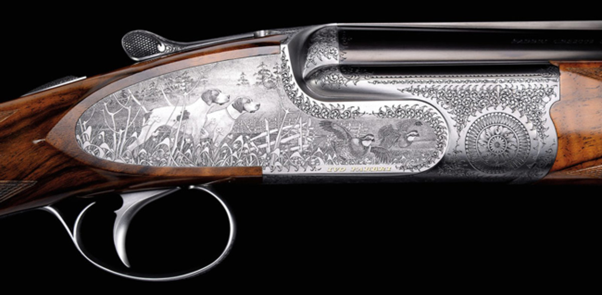 Small bore Fabbri pinless Sidelock O/U in 20 ga. was estimated at $40,000-60,000 but blew way beyond high estimate to $109,250.