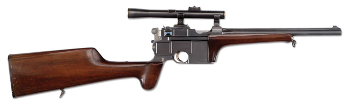 Mauser Conehammer Carbine SN 12 with period scope from the Friedrich-Wilhelm Dauphin Collection of Germany carried a presale estimate of $40,000-75,000 and sold for $51,750.