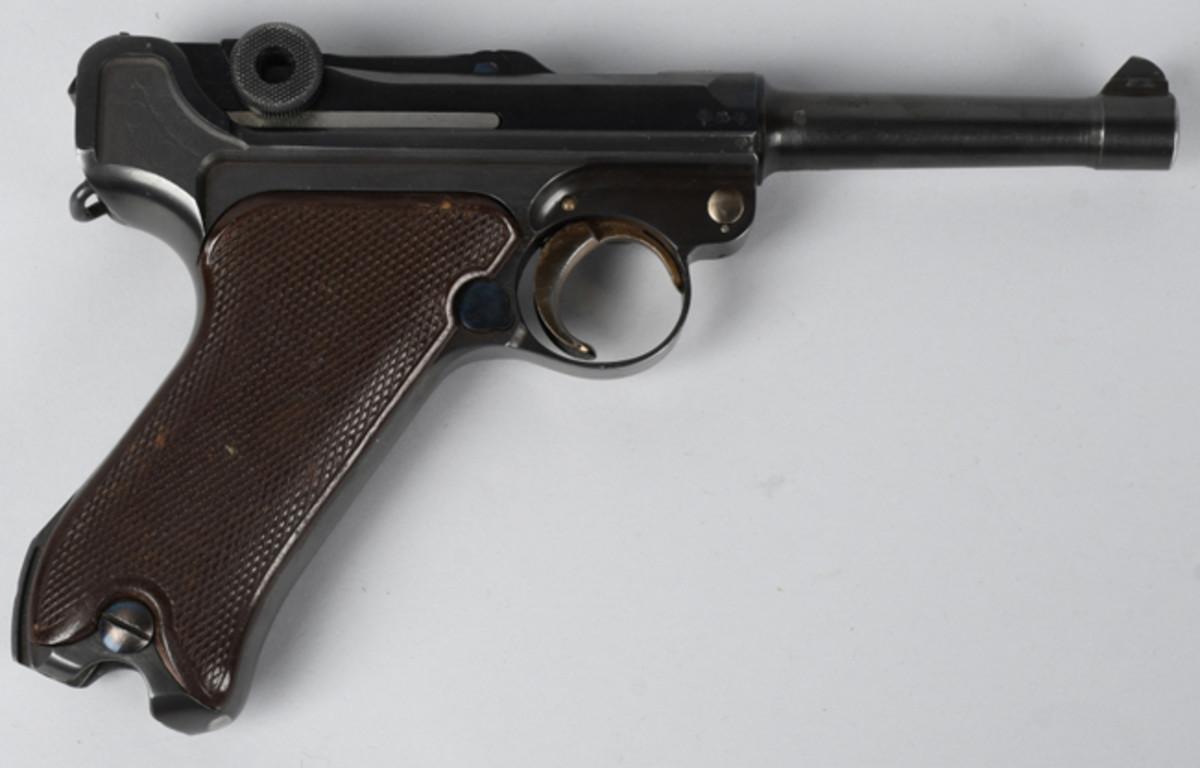 1936 Krieghoff Suhl semi-automatic Luger pistol, dated, Krieghoff proof marks, near mint. Estimate: $6,000-$8,000. Image - Milestone Auctions