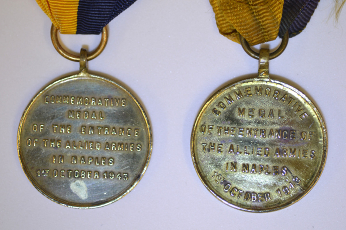 """On the Type 1 reverse, the word """"Commemorative"""" is completely straight (left) while on the Type 2, """"Commemorative"""" and """"1st October 1943 """" are done in an arc (right)."""