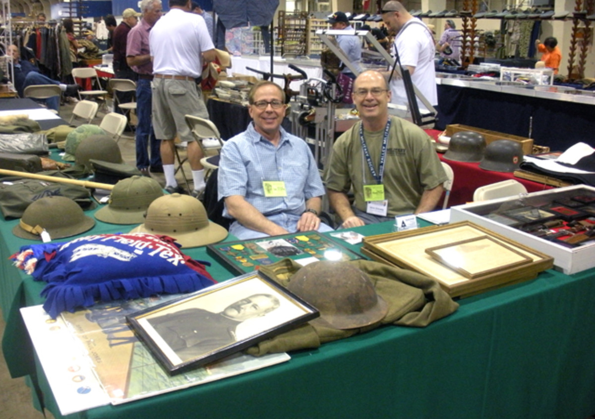 "Mark McCaffrey and his wife drove down from Great Falls, Mont., to set up at the show. There were not too many instances available when our advertising man on point, Nick Ockwig, could sneak behind the table to say hello. Mark is known for having, primarily, high-quality U.S. militaria. If you haven't run into him at the Show of Shows or one of several shows ""out west"" (he does show up at the Battlefield Show in St. Paul, Minn., too!), check out current inventory at fallscreekcollectibles.com"
