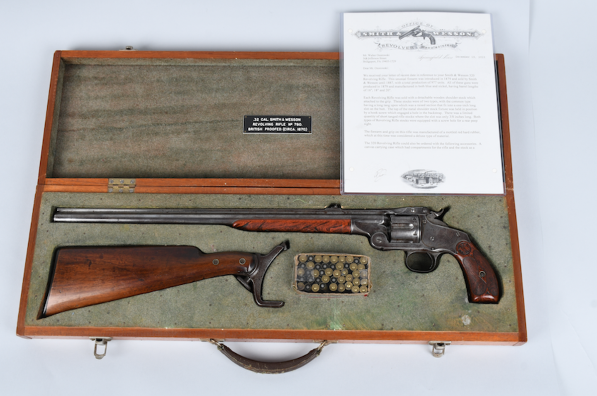 Smith & Wesson Model 320 revolving rifle shipped from factory in 1894, with case and box of scarce S&W .320 cartridges. Estimate: $8,000-$12,000. Image - Milestone Auctions