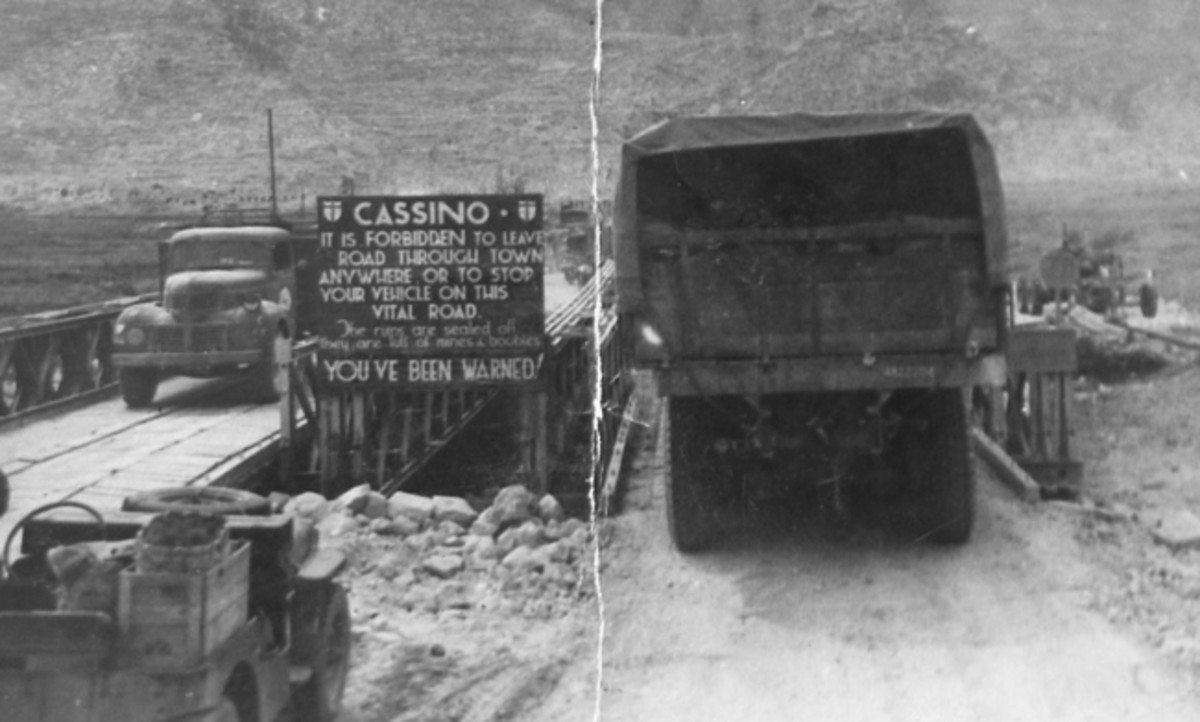 WWII snapshot of 396 Coy D15 truck leaving Cassino.