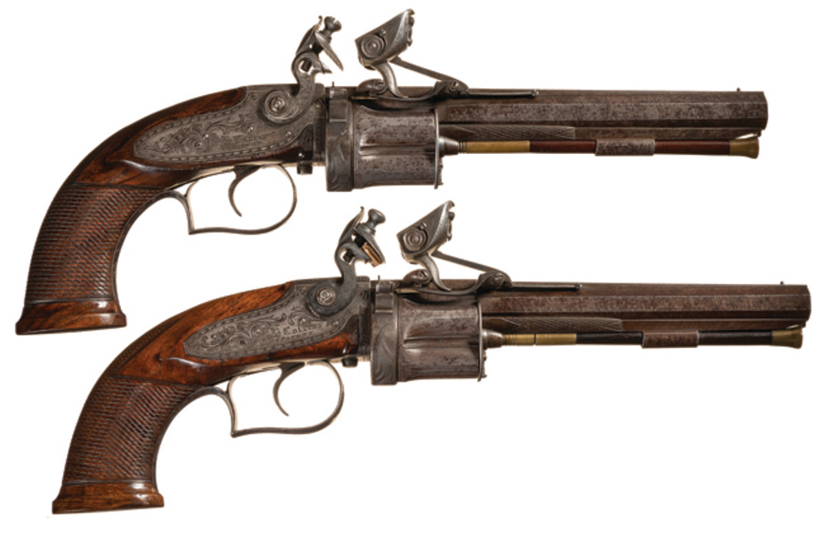 Matched Pair of E.H. Collier Second Model Revolving Flintlock Pistols