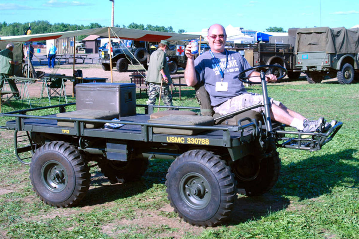"Military Vehicles Magazine's advertising ""Man on Point"" (in this case, Miller High Life), Nick Ockwig taking a mule for a spin."