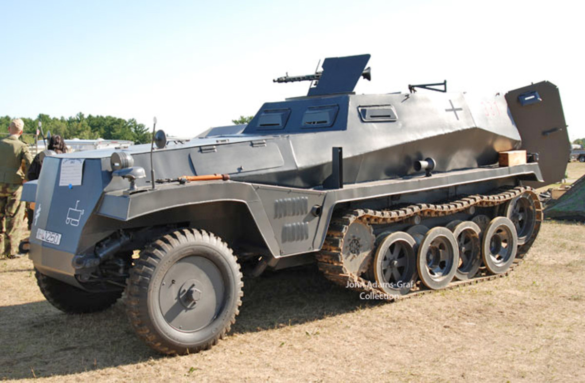 "Check out this wild track of ambition: A ""replica"" Sdkfz 250/1 build specifically for airsoft battles. It uses modern parts for easy repair and is powered by 350 cu-in Chevy V8 turning mini-excavator tracks. It is owned by Michael and Steven Alexander."
