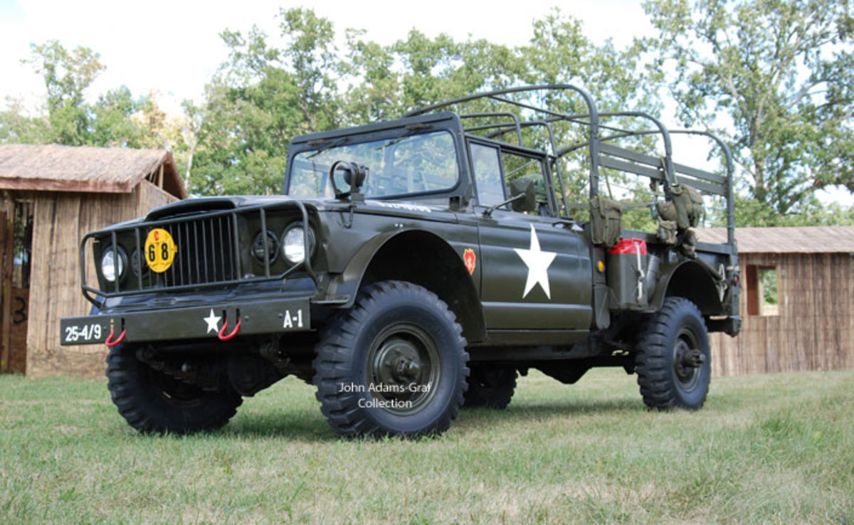 Charlene Ackerman brought her 1968 Kaiser M715. She's owned it for two years and has been having a blast driving it around with her husband and family. The 25th Infantry insignia is a tribute to a family member who served in Vietnam.