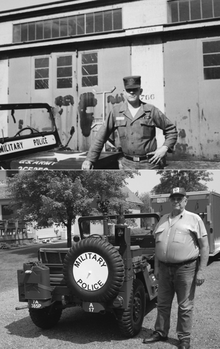 Ever though nearly 50 years separates these two image, they both represent a man who proudly served the U.S. Army in Company A, 385th MP Bn: Motor Sergeant Larry Elsasser.