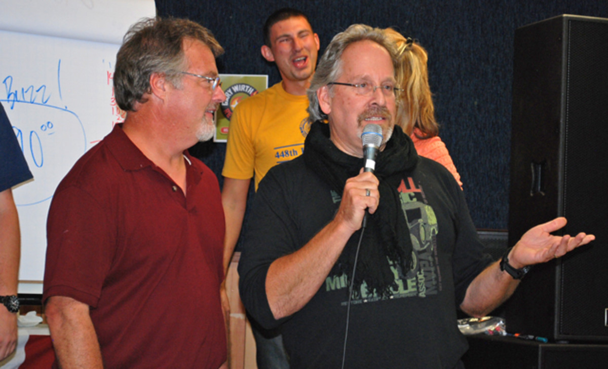 Owner of Midwest Miltiary, John Bizal (left) and Currieworks entrepenuer, John Currie (right) have worked tirelessly to support fellow military vehicle collector, Gary Wirth, as he battles leukemia. Little did they know, however, they were about to give just a little bit more… (all photos courtesy of Jack Kane)