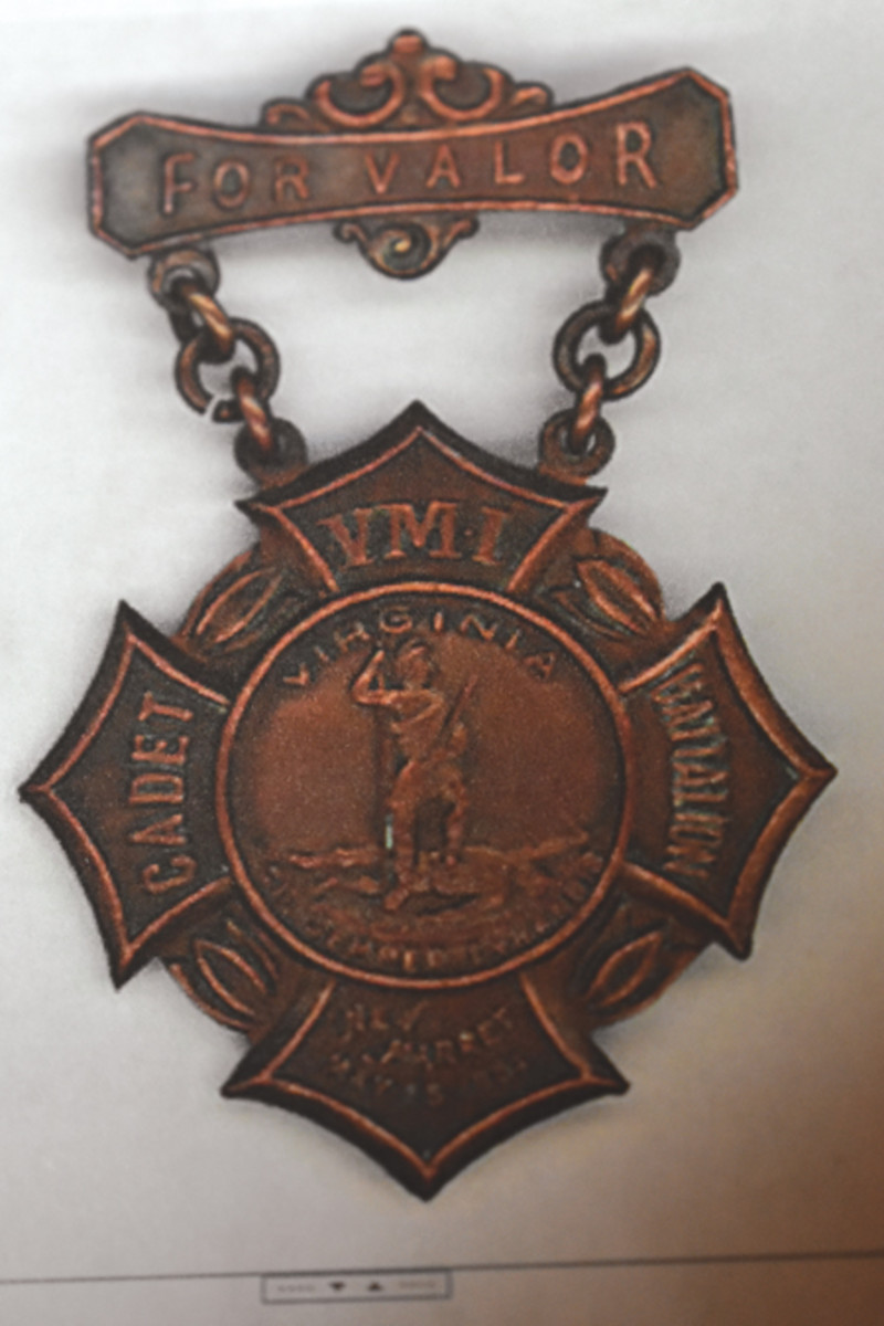 The New Market Medal was presented at Virginia Military Institute in 1904 to all living members of the Corps of Cadets in addition to the families of 10 cadets killed action at the Battle of New Market as well as to those who died since the war.