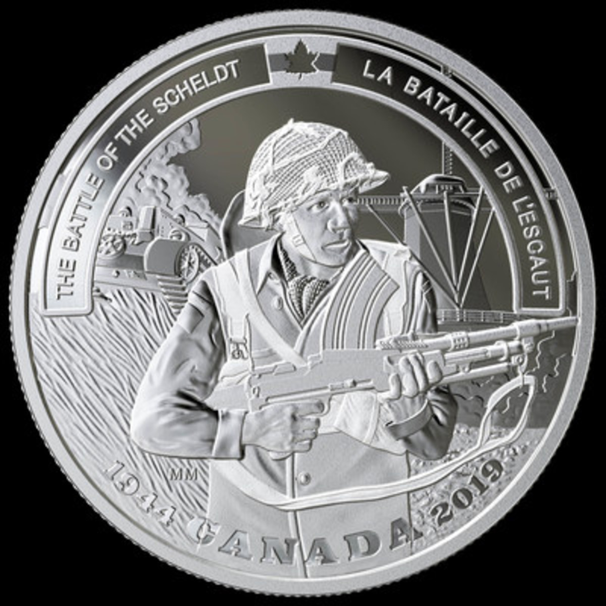The Royal Canadian Mint's fine silver coin commemorating the 75th anniversary of the Battle of the Scheldt (CNW Group/Royal Canadian Mint)