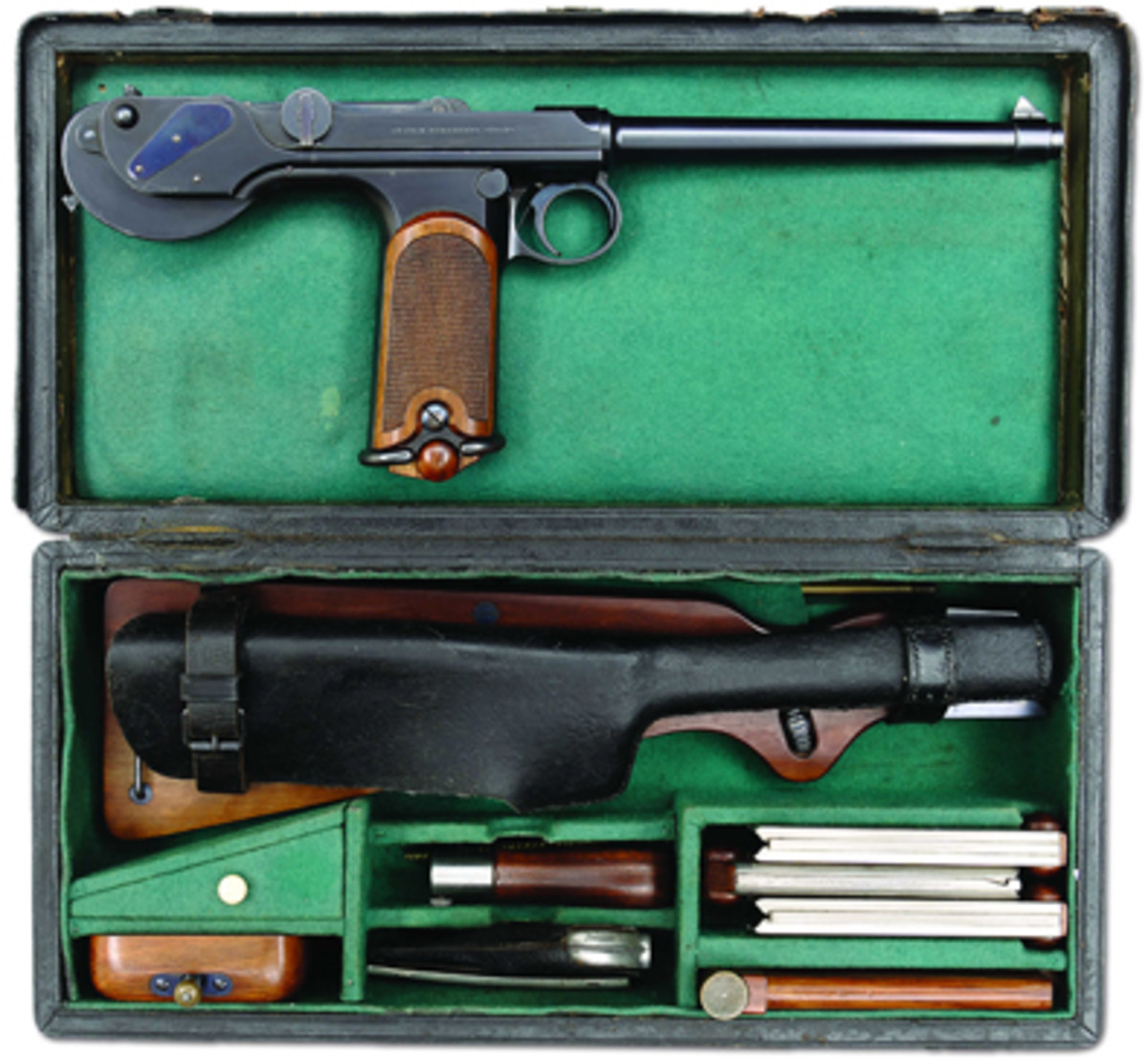 Cased Model 1893 Borchardt pistol by Loewe sold for $103,500.
